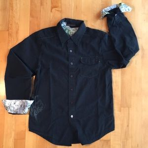 Black Fox Riders Casual Button Shirt Size S